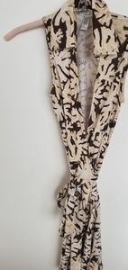 DV 100% silk coral printed sleeveless wrap dress